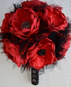Fabric Bouquet  Red and Black Fabric by TheVintageCabbgeRose
