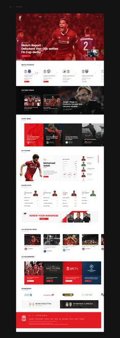 Liverpool FC Website Design Concept on Behance Not a fan of covering the four corners. Design is clean and the player stats section is awesome. Design Websites, Online Web Design, News Web Design, Web Design Quotes, Creative Web Design, Web Design Company, Pop Design, Design Lab, Flat Design