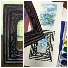 Lino print.  We are water coloring background landscapes and printing carved frames over the paining.