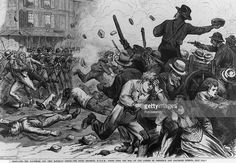 An Illustration of Soldiers Firing on a Mob during the Railroad Strike in Baltimore, Maryland on July 29, 1877.
