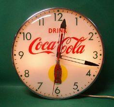 Vintage Drink Coca Cola Bottle Clock Pam Light Up