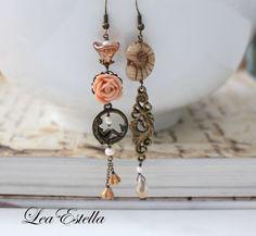 Mermaid earrings, Asymmetrical earrings, Rose gold earrings, fantasy earrings, Mismatched Earrings, Pink Flower Earrings - Mermaid Cove