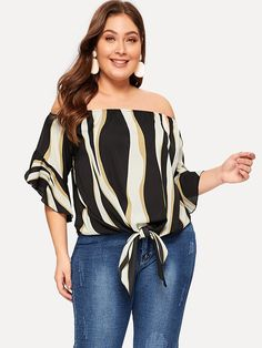 To find out about the Plus Off Shoulder Striped Knot Hem Blouse at SHEIN, part of our latest Plus Size Blouses ready to shop online today! Plus Size Women's Tops, Looks Plus Size, Plus Size Blouses, Half Sleeves, Types Of Sleeves, Pop Fashion, Fashion News, Creation Couture, Creations