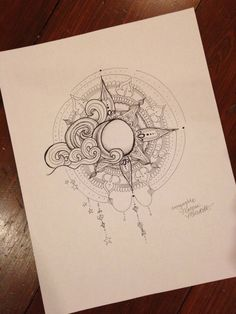Sun and Moon Print by MorgansCanvas on Etsy, $10.00 | I love this design - hip tattoo?