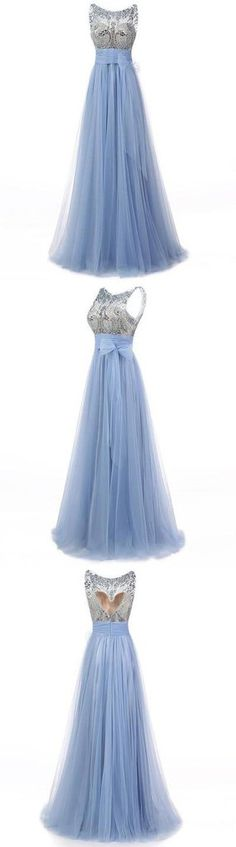 blue prom dress, long prom dress, tulle prom gown, popular evening dress 2017, BD154 #fashion#bridesmaiddress#promdress#promgown#eveningdress