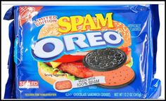 Spam joins the list of rumored Oreo flavors (bacon cream, fried chicken, cheeseburger) not actually being produced by Nabisco. Weird Oreo Flavors, Pop Tart Flavors, Cookie Flavors, Gross Food, Weird Food, Fake Food, Funny Food Memes, Food Humor, Sandwich Cookies