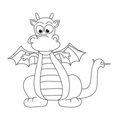 How to Draw a Dragon Doodle Drawings, Easy Drawings, Animal Drawings, Drawing Lessons For Kids, Art Lessons, Coloring Book Pages, Coloring Pages For Kids, Kids Coloring, Dragon Coloring Page
