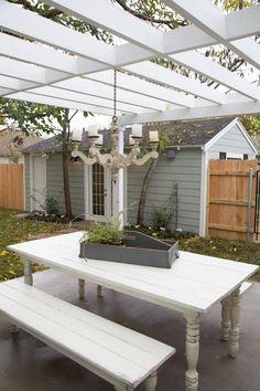 "Pergola for our deck? Love the chandelier!As seen on HGTV's ""Fixer Upper. Magnolia Farms, Magnolia Homes, Magnolia Market, Outdoor Rooms, Outdoor Living, Outdoor Decor, Outdoor Farm Table, Picnic Table, Fixer Upper"