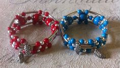 Turquoise and Coral Bead wraparounds