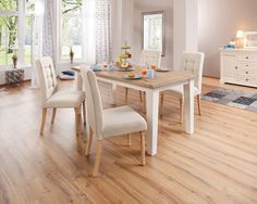 Dieser romantische Esstisch im Landhausstil, aus FSC®-zertifizierten massiven Holz, besteht aus einer rechteckigen wildeiche Tischplatte mit weißen quadratischen kiefer Tischbeinen, die den besonderen Look dieses Möbelstücks unterstreichen. Alle Maße sind ca.-Maße. Selbstmontage mit Aufbauanleitung.   Details:  3,6 cm starke Tischplatte, FSC®-zertifiziertes Massivholz, In verschiedenen Größen, ...