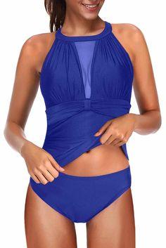 Blue High Neck Plunge Mesh Ruched Push-up Tankini Swimwear – ModeShe.com