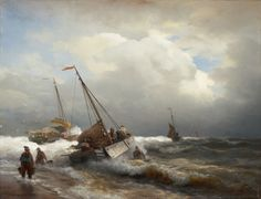 Andreas Achenbach, SEASCAPE (FISHING BOATS IN THE STORM), Auction 929 Old Masters, Lot 1497