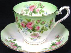 ROYAL ALBERT BLUSH LIME GREEN ROSE TEA CUP AND SAUCER TEACUP