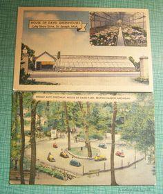 Pair of Vintage Postcards - Unused Unstamped - House of David Benton Harbor St. Jospeh, Michigan - Linen - Greenhouse - Midget Auto Speedway by AVintageLifeByNikki on Etsy