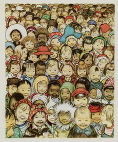 All the children of the world, Norman Rockwell - I remember when this was the ATT phone book cover Norman Rockwell, Art And Illustration, Book Illustrations, We Are The World, Vintage Children's Books, Vintage Kids, In Kindergarten, Retro, Art For Kids