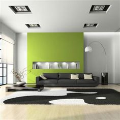 Lime green accent wall