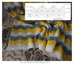 Finally finished CROCHET BLANKET in zig-zag POINT, I was weaving for a friend and that was why some posts on the Zig-Zag points a. Zig Zag Crochet, Crochet Ripple Blanket, Manta Crochet, Crochet Bebe, Crochet Blankets, Baby Blankets, Knitting Stitches, Knitting Patterns Free, Free Knitting