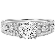 #Stylish #Saturday with #Capri #Jewelers #Arizona ~ www.caprijewelersaz.com  ♥ Diamond Engagement Ring in 14K White Gold ·