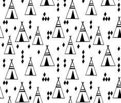 Teepees - Black and White by Andrea Lauren fabric by andrea_lauren on Spoonflower - custom fabric