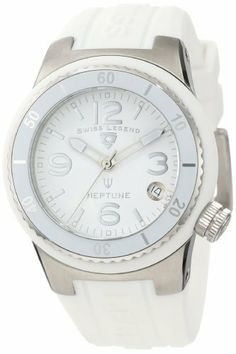 Swiss Legend Women's 11840P-02-WHT Neptune White Dial White Silicone Watch Swiss Legend. $118.50. Swiss quartz movement. White dial with silver tone and white hands, silver tone hour markers and Arabic numerals; luminous; unidirectional stainless steel bezel with white top ring; screw-down stainless steel crown. Sapphitek crystal; stainless steel case with white silicone cover; white silicone strap with logo. Water-resistant to 100 M (330 feet). Date window at 4:00