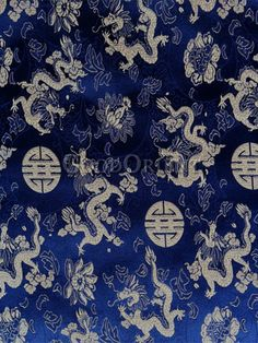 Blue Brocade with Dragon Pattern