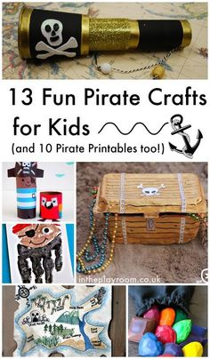13 fun pirate crafts for kids for talk like a pirate day. Great ideas for treasure chests, telescopes, pirate hand prints and loads more. Pirate printables too!