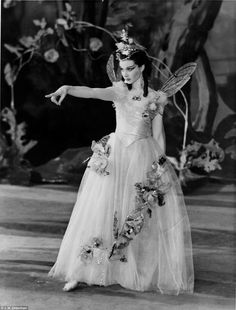 Vivien Leigh playing the role of Titania in A Midsummer Night's Dream at the Old Vic Theatre in London in 1937