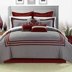 Add a touch of sophistication to your bedroom's décor with the stylish Chic Home Cosmo Comforter Set. With a solid colored ground pieced with banding, the simple yet elegant bedding is the perfect way to update your space. Bed Sets, Bed In A Bag, Queen Comforter Sets, Red Bedding Sets, Gray Bedding, Home Interior, Luxury Bedding, Comforters, Bedspreads