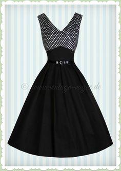 Lindy Bop 50er Jahre Rockabilly Petticoat Punkte Kleid - Valerie - Schwarz