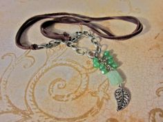 Leather and Chain Charm Necklace A New Leaf Green by SimplyMim, $29.00