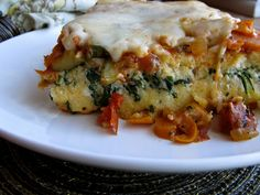 Ratatouille polenta lasagna.... Polenta layer, ratatouille layer, ricotta layer,Provolone topping