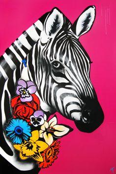 """Original Artwork by Matt Stewart. Size: 100cm (39.3"""") x 150cm (59""""). Acrylic / Aerosol #art #artwork #fashion #home #interiordesign #zebra #pink #flowers  www.mattstewart.tv"""