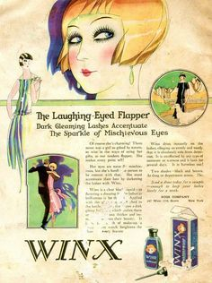 The Laughing Eyed Flapper must have her Winx waterproof mascara (Flickr). Ad produced in 1920s. Click image for 671 x 900 size.