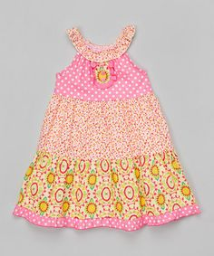 Look what I found on #zulily! Pink Floral Yoke Dress - Toddler & Girls by Gurly Bird by Mack & Co. #zulilyfinds