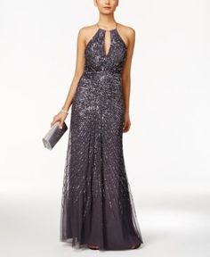 Adrianna Papell Beaded Halter Gown - Silver 10M