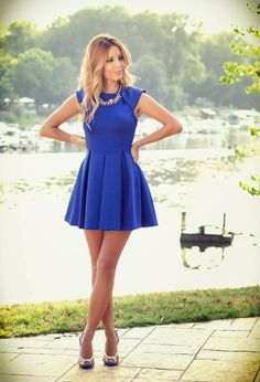 Loving the Cobalt blue! Pretty Girl in sleeveless mini dress fashion style Fashion Mode, Look Fashion, Blue Fashion, Fashion Ideas, Fashion 2015, High Fashion, Female Fashion, Ladies Fashion, Fashion Trends