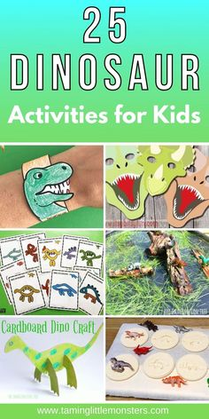 25 Dinosaur Activities, Crafts and Printables for Kids. Fun and easy dinosaur play ideas for toddlers, preschoolers and kindergarten classrooms. #dinosaurs #toddlers #preschoolers #kindergarten Dinosaur Play, Dinosaur Activities, Dinosaur Crafts, Printable Activities For Kids, Educational Activities, Learning Activities, Preschool Activities, Play Based Learning, Preschool Learning
