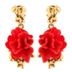 Oscar de la Renta Red Coral-Motif Clip-On Earrings ($165) ❤ liked on Polyvore featuring jewelry, earrings, accessories, coral, oscar de la renta earrings, golden earring, clip earrings, oscar de la renta and earrings jewelry