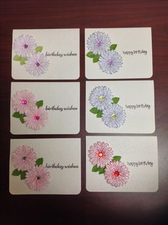 Cards by D Marshall using different colour combinations, Cricut Embossing folder, Stampin Up Daisy Delight stamp and punch, rhinestone centers