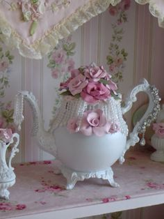 shabby chic, white, cottage,roses,cottage chic     Here is my shabby chic tea pots ,they are sprayed a shabby white then adorned with my hand made roses dripping pearls and vintage brooches each piece is one of a kind .please contact me516-205-1435 or on skype marjorie7535 thank you for looking