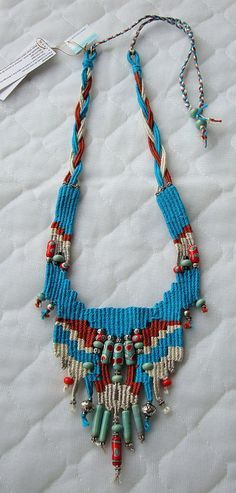 Loomed necklace with glass beads