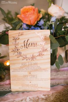 Wood wedding invitations| Co-Producer & Florals: Ooh La La Designs | Co-Producer & Photography: Eva Derrick Photography | Boho Wood Wedding Menu | Stationery: Paper Damsels