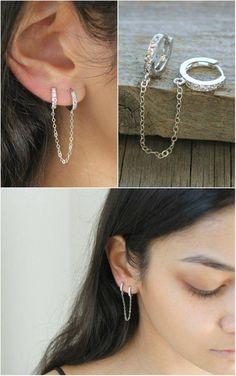White Sapphire Ear Drop Dangle Stud Argent 925 Rempli Long Tassel Fille Boucles D/'oreilles