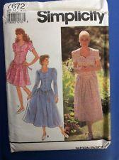 New Vintage FF Pattern Simplicity  7672 Dress Size 6-10 Misses  Women