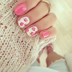 pink and white floral flower nail art