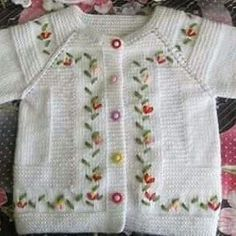 """Pattern description from Vogue Knitting, Spring/Summer """"'I designed this sweater nine years ago, when I was expecting my second baby, my first and only gi Baby Cardigan, Baby Girl Cardigans, Knit Baby Sweaters, Knitted Baby Clothes, Baby Vest, Summer Cardigan, Diy Crafts Knitting, Knitting For Kids, Double Knitting"""