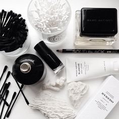 Modern still life. Black and white makeup table. Love the composition.