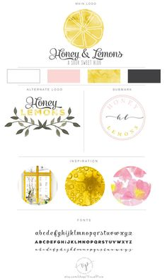 Branding Package  Watercolor Lemon Logo  Cooking by VisualPixie