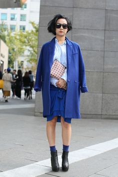 cobalt + baby blue + chocolate + cream  Seoul Street-Style Snaps #refinery29