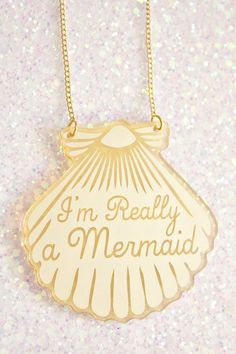 Mermaid Jewelry // A Mermaid gave me this Gold Shell Necklace // mermaid necklace. via Etsy. Mermaid Jewelry, Mermaid Necklace, Seashell Necklace, The Bling Ring, Give It To Me, Just For You, Girly, Kawaii, Princesas Disney